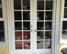 WHITE FRENCH ROLL-AWAY INVISIBLE SCREEN DOORS