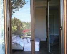 EXTRA TALL AND WIDE BEIGE GREY CUSTOM COLOR FRENCH ROLL-AWAY SCREEN DOORS