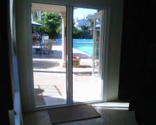 INSIDE MOUNT WHITE FRENCH ROLL-AWAY RETRACTABLE SCREEN DOORS FOR OUTSWINGING DOUBLE DOORS