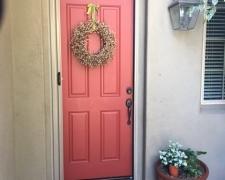 TALL CHAMPAGNE BEIGE ROLL-AWAY RETRACTABLE SCREEN DOOR