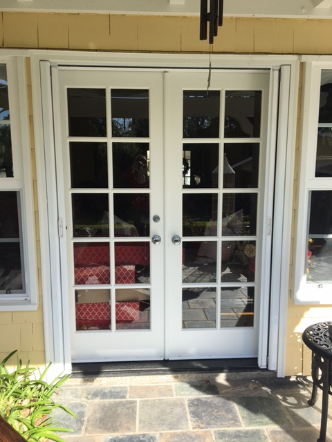 WHITE FRENCH ROLL AWAY INVISIBLE SCREEN DOORS