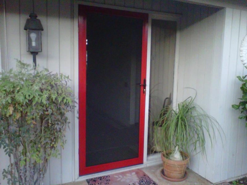 RUBY RED CUSTOM COLOR TRU VIEW SECURITY SCREEN DOOR