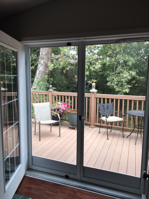 WHITE FRENCH CLEARVIEW SWINGING SCREEN DOORS FROM INSIDE