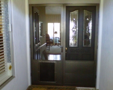 BRONZE FRENCH CLEARVIEW SWINGING SCREEN DOORS WITH PET DOOR