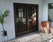 BRONZE FRENCH CLEARVIEW SWINGING SCREEN DOORS MOUNTED ON COLONIAL DOORS