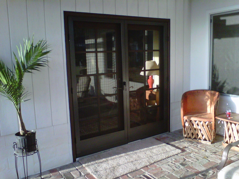 BRONZE FRENCH CLEARVIEW SWINGING SCREEN DOORS MOUNTED ON COLONIAL DOORS & Swinging Screen Doors \u2013 The Screen Lady Inc. Pezcame.Com
