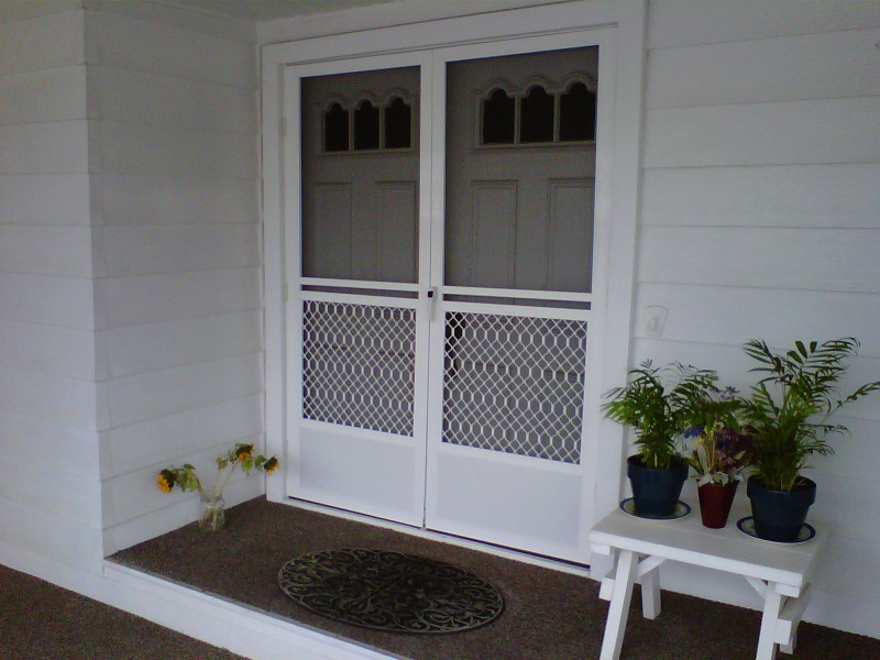 WHITE FRENCH SAFEGUARD SWINGING SCREEN DOORS & Swinging Screen Doors \u2013 The Screen Lady Inc.