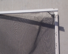 TORN AND CORRODED WINDOW SCREEN
